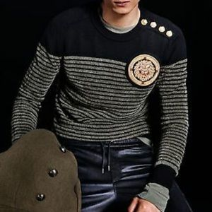 BALMAIN x H&M Black Wool Gold Lion Striped Sweater